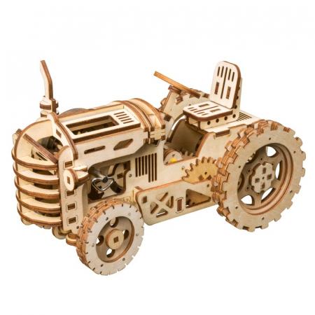 Puzzle 3D Mecanic Tractor, Lemn, 136 piese0