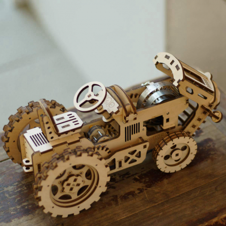 Puzzle 3D Mecanic Tractor, Lemn, 136 piese2