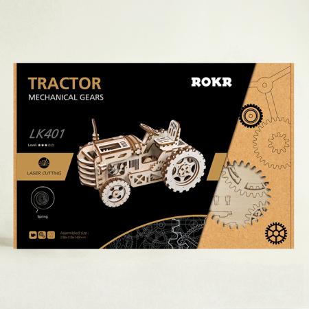 Puzzle 3D Mecanic Tractor, Lemn, 136 piese5