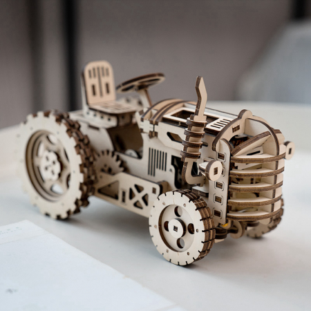 Puzzle 3D Mecanic Tractor, Lemn, 136 piese3