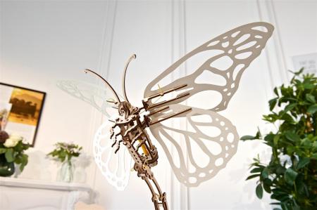 Puzzle 3D Mecanic , Fluture cu floare [3]