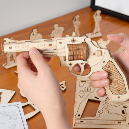 Puzzle 3D, Pistol Corsac M60, Lemn, 102 piese3