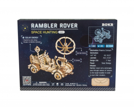 Puzzle 3D spatial, cu baterie solara, Rambler Rover, Lemn, 175 piese1