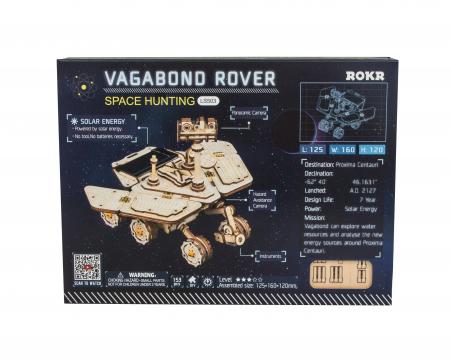 Puzzle 3D spatial, cu baterie solara, Vagabond Rover, Lemn, 153 piese1