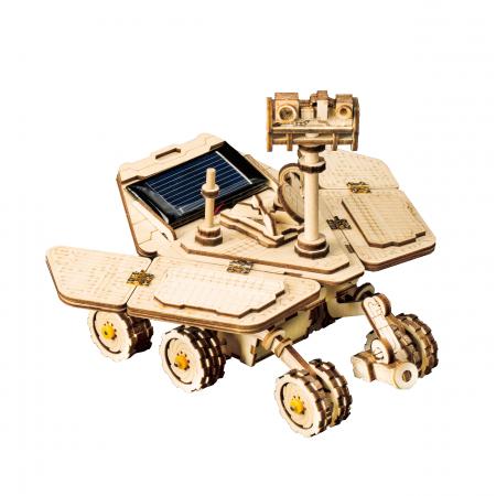 Puzzle 3D spatial, cu baterie solara, Vagabond Rover, Lemn, 153 piese0
