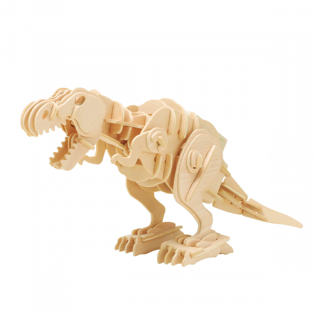 Puzzle 3D T-Rex mobil, Lemn, 90 piese0