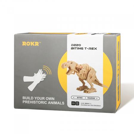 Puzzle 3D T-Rex mobil, Lemn, 90 piese3