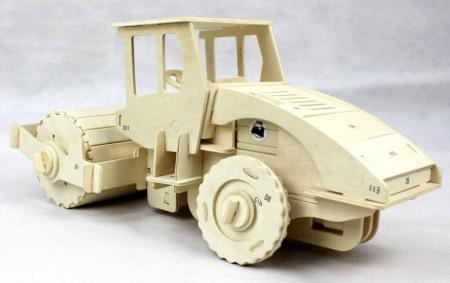 Puzzle mecanic 3D din lemn, cu telecomanda, Masina de asfaltat, 78 piese [1]
