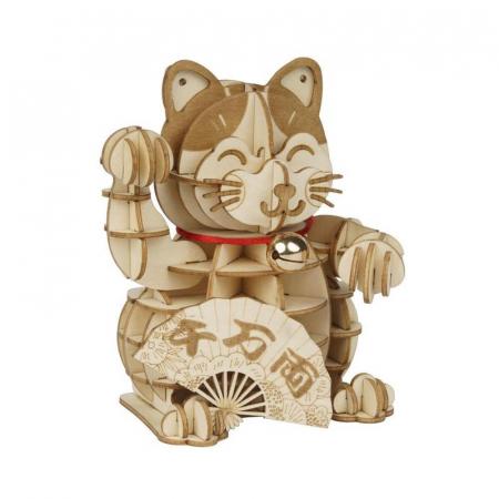 Puzzle 3D din lemn, Pisica prosperitatii, 72 piese [0]