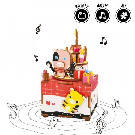Puzzle 3D, Mecanic, Cutiuta muzicala, La multi ani, 63 piese [1]