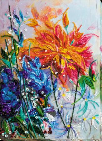 Set broderie cu margele cusute, Culori aprinse, 35 culori, 25x34 cm0