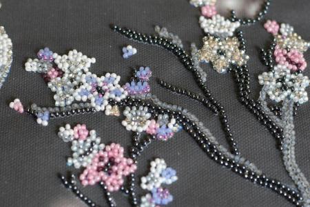 Set broderie cu margele cusute, Sakura noaptea, 12 culori, 20x41 cm1