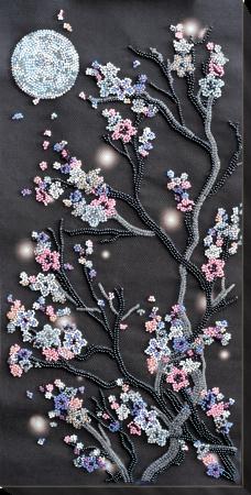 Set broderie cu margele cusute, Sakura noaptea, 12 culori, 20x41 cm0