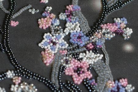 Set broderie cu margele cusute, Sakura noaptea, 12 culori, 20x41 cm2