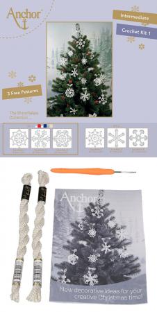Set creatie accesorii crosetate, Fulgi de nea albi [0]