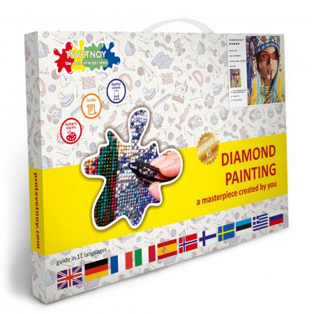 Set goblen cu diamante, cu sasiu, Amerindianca, 40x50 cm5