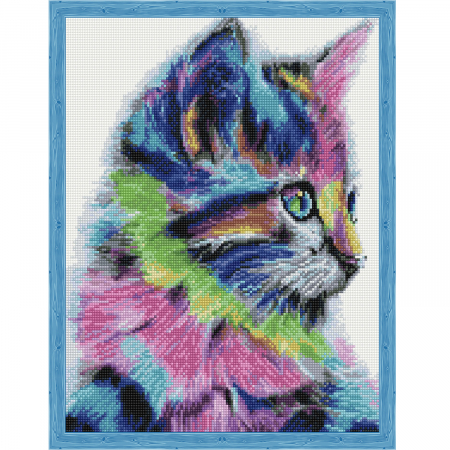Set goblen cu diamante, cu sasiu, Colorful Kitten, 40x50 cm0