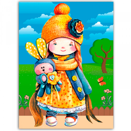 Set goblen cu diamante, cu sasiu, Little Girl with a Toy, 30x40 cm0