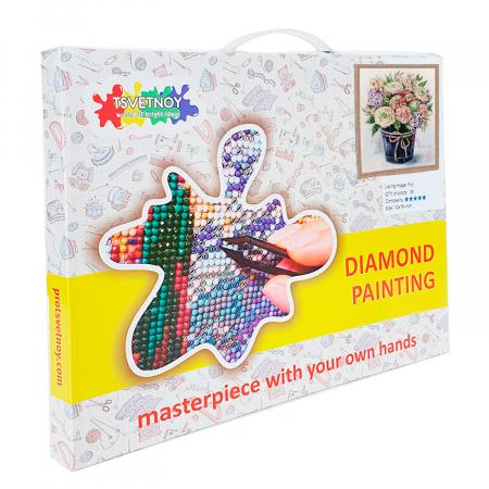 Set goblen cu diamante, cu sasiu, Buchet cu liliac, 40x50 cm2