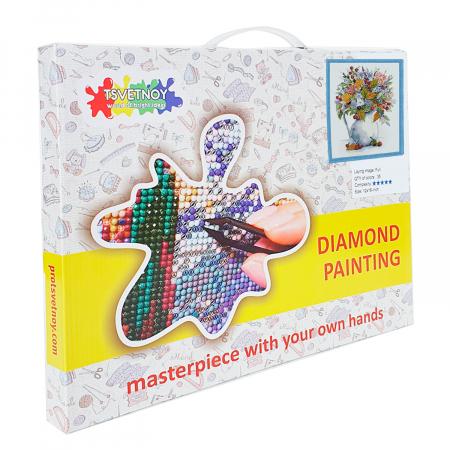 Set goblen cu diamante, cu sasiu, Buchet cu papadie si fructe de padure, 40x50 cm2
