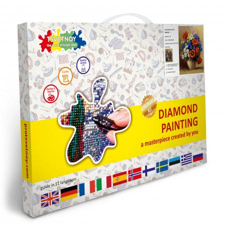 Set goblen cu diamante, cu sasiu, Buchet de Maci, 30x40 cm [4]