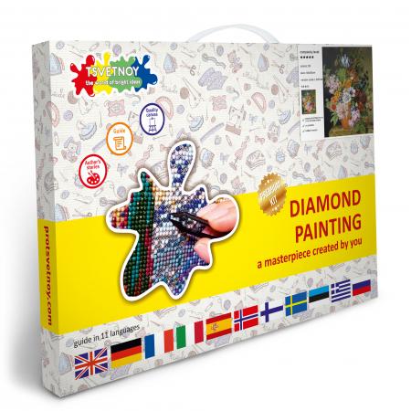 Set goblen cu diamante, cu sasiu, Buchet in vaza, 40x50 cm5