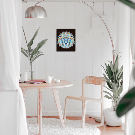 Set goblen cu diamante, cu sasiu, Leu, 40x50 cm1