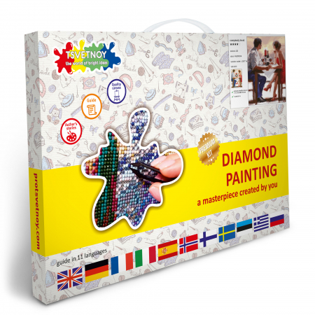 Set goblen cu diamante, cu sasiu, Cina romantica [4]