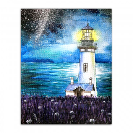 Set goblen cu diamante, cu sasiu, Lighthouse in the Night, 40x50 cm0