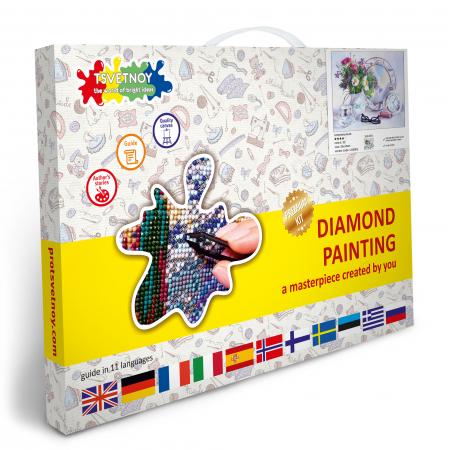 Goblen cu Diamante, cu sasiu, Dispozitie florala, 40x50 cm [4]