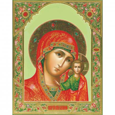 Set goblen cu diamante, cu sasiu, Icoana Maica Domnului din Kazan, 40x50 [0]