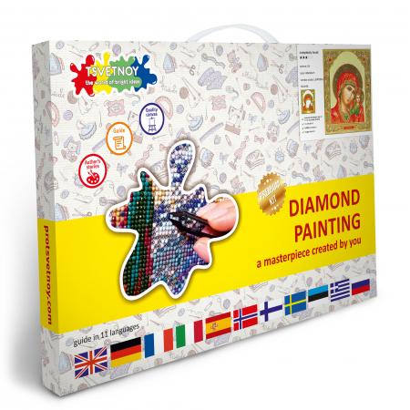 Set goblen cu diamante, cu sasiu, Icoana Maica Domnului din Kazan, 40x50 [6]