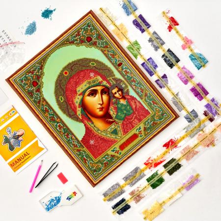 Set goblen cu diamante, cu sasiu, Icoana Maica Domnului din Kazan, 40x50 [1]