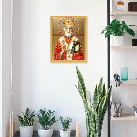 Set goblen cu diamante, cu sasiu, Icoana - Sf. Nicolae, 40x50 cm [4]