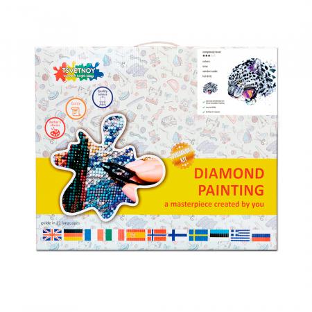 Set goblen cu diamante, cu sasiu, Leopard de zapada, 30x40 cm3