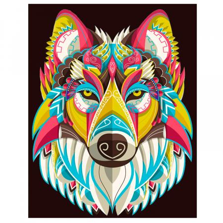 Set goblen cu diamante, cu sasiu, Colourful Wolf, 30x40 cm0