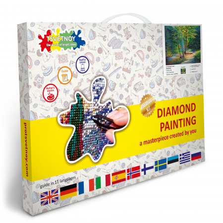 Set goblen cu diamante, cu sasiu, Mesteceni, 40x50 cm4