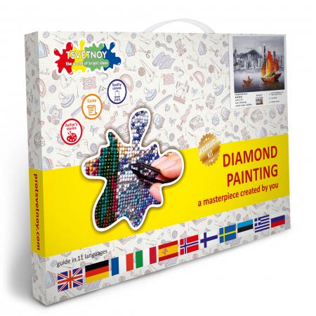 Set goblen cu diamante, cu sasiu, Noaptea in Hong Kong, 40x50 cm4