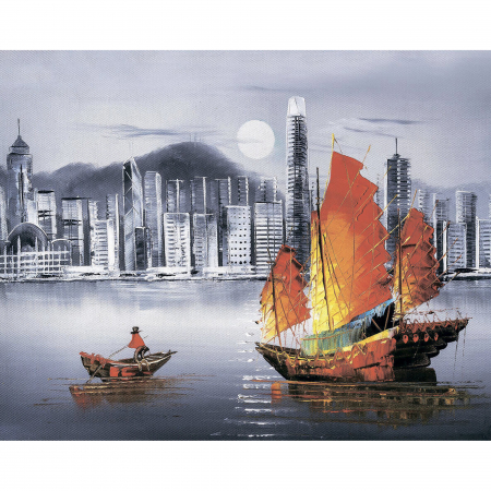Set goblen cu diamante, cu sasiu, Noaptea in Hong Kong, 40x50 cm0