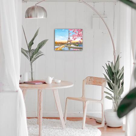 Set goblen cu diamante, cu sasiu, Paris in Blossom, 40x50 cm1