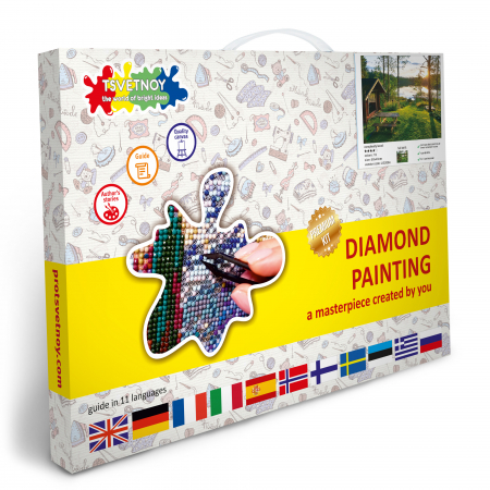 Set goblen cu diamante, cu sasiu, Peisaj pitoresc, 40x50 cm4