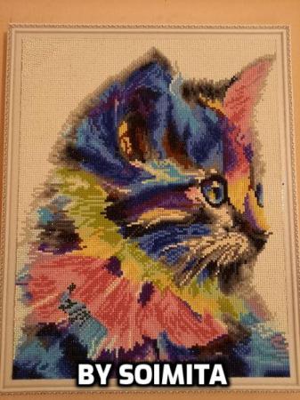 Set goblen cu diamante, cu sasiu, Pisica Colorata [1]