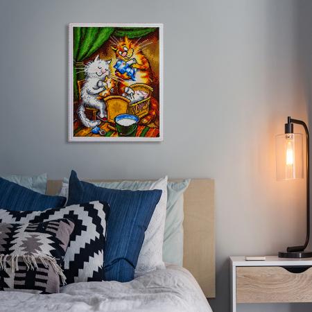 Set goblen cu diamante, cu sasiu, Pisici - Familia Fericita, 40x50 cm [5]
