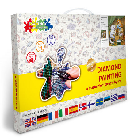 Set goblen cu diamante, cu sasiu, Pisici - Familia Fericita, 40x50 cm [6]