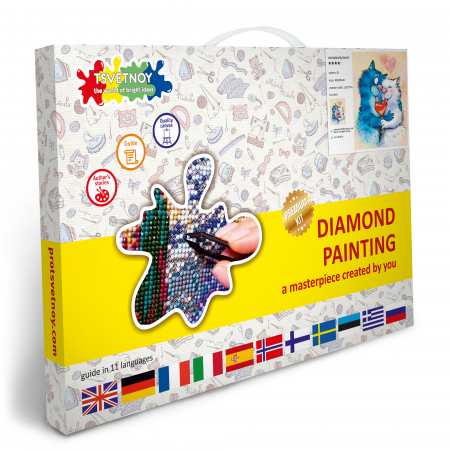 Set goblen cu diamante, cu sasiu, Pisici - fericire impartasita, 40x50 cm4