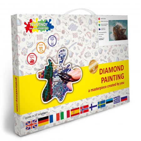 Set goblen cu diamante, cu sasiu, Pisoi visator [4]