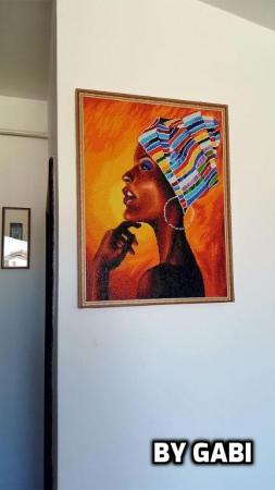 Set goblen cu diamante, cu sasiu, Portret african [2]