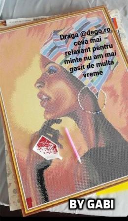 Set goblen cu diamante, cu sasiu, Portret african [1]