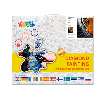Set goblen cu diamante, cu sasiu, Privirea pradatorului, 40x50 cm2