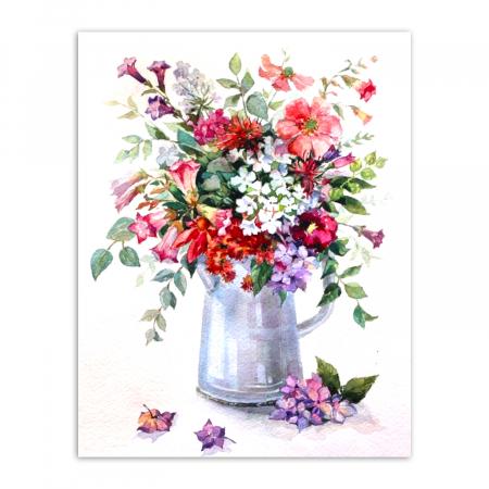 Set goblen cu diamante, cu sasiu, Rapsodie florala, 40x50 cm0